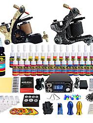 abordables -Machine à tatouer Kit pour débutant - 2 pcs Machines de tatouage avec 28 x 5 ml encres de tatouage, Professionnel LCD alimentation Case