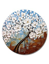 cheap -STYLEDECOR Modern Hand Painted Abstract Circular Frame Blue and Brown Backgroud with White Flowers Trees Oil