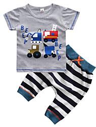 お買い得  -幼児 男の子 ストライプ / 幾何学模様 半袖 アンサンブル
