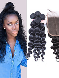 cheap -Peruvian Hair Loose Wave Hair Weft with Closure 3 Bundles With  Closure 10-30 inch Human Hair Weaves Hot Sale Black Human Hair Extensions Women's