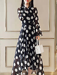 cheap -Women's Basic / Street chic Flare Sleeve Swing Dress - Polka Dot Black & White, Ruffle / Patchwork