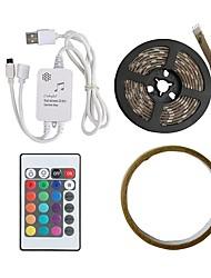 baratos -2m Faixas de Luzes LED Flexíveis / Faixas de Luzes RGB / Controles remotos 60 LEDs SMD5050 1 controlador remoto de 24Keys RGB / RGB + Branco Cortável / USB / Impermeável 5 V 1conjunto
