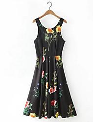 baratos -Mulheres Evasê Vestido Floral Acima do Joelho