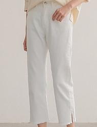 abordables -Mujer Alta cintura Algodón Delgado Vaqueros / Chinos Pantalones - Un Color / Primavera / Verano