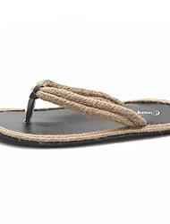 お買い得  -女性用 靴 PUレザー 春夏 スリングバック スリッパ&フリップ・フロップ フラットヒール ブラック / ベージュ