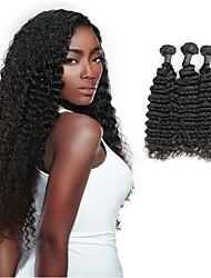 abordables -3 offres groupées Cheveux Brésiliens Ondulé Paquets de 100% Remy Hair Weave Extensions Naturelles 8-30 pouce Noir Tissages de cheveux humains Partie gratuite Brillant / Design nouveau / 100% vierge