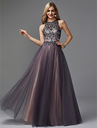 cheap -A-Line Jewel Neck Floor Length Tulle Keyhole Prom / Formal Evening Dress with Beading by TS Couture®
