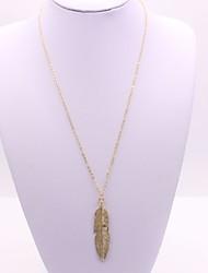 Недорогие -Жен. Длиные Ожерелья с подвесками - В форме листа Классика, Мода Золотой, Серебряный 55+5 cm Ожерелье Бижутерия 1шт Назначение Повседневные