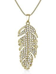 abordables -Femme Long Pendentif de collier - Strass Forme de Feuille Classique, Mode Or, Argent 45+5 cm Colliers Tendance 1pc Pour Quotidien