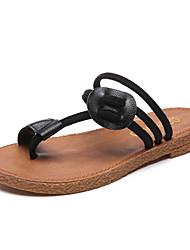 Недорогие -Жен. Обувь Полиуретан Лето Удобная обувь Сандалии На плоской подошве Открытый мыс Черный / Коричневый