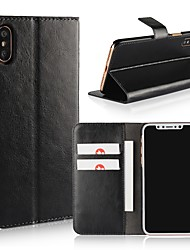 preiswerte -Hülle Für Apple iPhone X / iPhone 8 Geldbeutel / Kreditkartenfächer / Flipbare Hülle Ganzkörper-Gehäuse Solide Hart PU-Leder für iPhone X / iPhone 8 Plus / iPhone 8