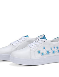 cheap -Women's Shoes Nappa Leather Spring / Summer Comfort Sneakers Flat Heel Round Toe Blue / Pink