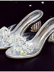 baratos -Mulheres Sapatos Lona Verão Conforto Sandálias Salto Alto com Jóias Prateado