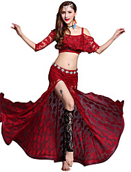 baratos -Dança do Ventre Roupa Mulheres Espetáculo Modal Renda / Combinação / Com Fenda Meia Manga Caído Saias / Blusa