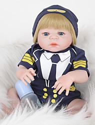 povoljno -FeelWind Autentične bebe Za muške bebe 22 inch Cijeli silikon tijela - vjeran, Umjetna implantacija Plave oči Dječjom Dječaci Poklon