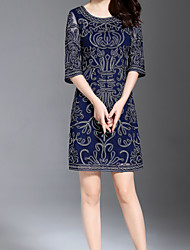 baratos -Mulheres Básico Reto Vestido Sólido / Floral Acima do Joelho
