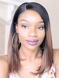 Недорогие -Не подвергавшиеся окрашиванию Бесклеевая кружевная лента Лента спереди Парик Стрижка боб Прямая челка Rihanna стиль Бразильские волосы Прямой Яки Омбре Парик 130% Плотность волос / Природные волосы