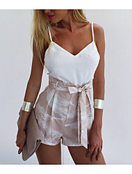 cheap -Women's Basic Romper - Solid Colored / Floral, Backless / Lace up / Patchwork