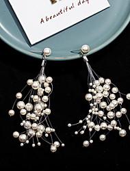hesapli -Kadın's Püskül Damla Küpeler - İmitasyon İnci Basit, Koreli, Moda Mücevher Beyaz Uyumluluk Parti Günlük / 1 çift