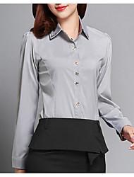 Недорогие -Жен. Рубашка Воротник-стойка Однотонный