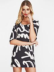 abordables -Femme Grandes Tailles Travail Tee-shirt Coton Ample / Courte / Tunique Robe - Fleur / Imprimé, Lettre Au dessus du genou