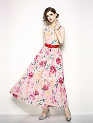 Недорогие -Жен. Уличный стиль С летящей юбкой Платье - Цветочный принт, С принтом Средней длины