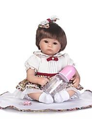 billiga -NPKCOLLECTION Reborn-dockor Babyflickor 18 tum Silikon - Konstgjord implantering Brown Eyes Unge Flickor Leksaker Present