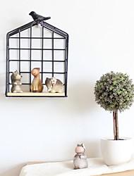 baratos -Pássaro / Criativo Decoração de Parede De madeira / Metal Pastoril Arte de Parede, Prateleiras e bordas de parede Decoração