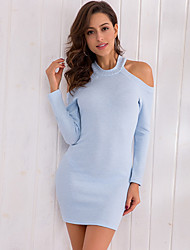 cheap -women's going out skinny sheath dress high waist mini crew neck
