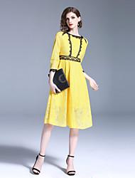 Недорогие -Жен. Уличный стиль А-силуэт Платье - Однотонный, Кружева Средней длины