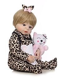 Недорогие -NPKCOLLECTION Куклы реборн Девочки 24 дюймовый Полный силикон для тела Силикон Винил - Искусственные имплантации Голубые глаза Детские Девочки Игрушки Подарок