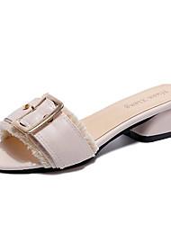 baratos -Mulheres Sapatos Couro Ecológico Verão Chanel Sandálias Salto Robusto Preto / Amêndoa