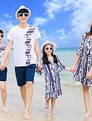 cheap -Family Look Color Block Short Sleeve Dress