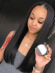 povoljno -Remy kosa Lace Front Perika Brazilska kosa Ravan kroj Srednji dio 130% Gustoća Prirodna linija za kosu / S bijelim čvorovima Dug Žene