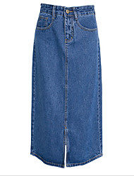 cheap -Women's Going out Denim A Line Skirts - Solid Colored