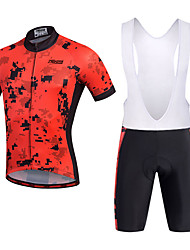 cheap -21Grams Men's Short Sleeve Cycling Jersey with Bib Shorts - Black Bike Shorts / Bib Shorts / Jersey, 3D Pad, Quick Dry, Breathable Polyester, Silicon / Stretchy / Reflective Strips / Bib Tights