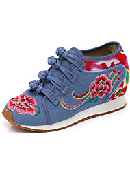 cheap -Women's Shoes Canvas Fall & Winter Comfort Oxfords Wedge Heel Pointed Toe Buckle Black / Red / Blue