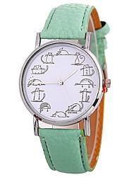 Недорогие -Xu™ Жен. Наручные часы Китайский Творчество / Крупный циферблат / Веселая PU Группа Мода / минималист Черный / Белый / Синий / Один год