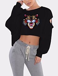 abordables -Mujer Básico Estampado Camiseta Un Color / Bloques / Animal Tigre