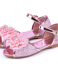 cheap -Girls' Shoes Sparkling Glitter Spring / Summer Comfort / Novelty / Flower Girl Shoes Sandals Rhinestone / Bowknot / Buckle for Gold / Silver / Pink / Peep Toe / Wedding