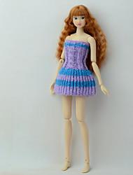 Недорогие -Платье куклы Платья Для Barbie Полосы / волосы Разные цвета Аметистовый Плетеные изделия Полиэстер Акриловые волокна Платье Для Девичий игрушки куклы