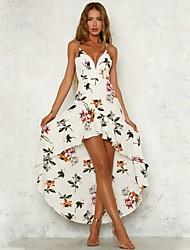 preiswerte -Damen Boho Chiffon / Swing Kleid - Druck, Blumen Asymmetrisch