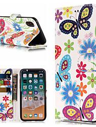 Недорогие -Кейс для Назначение Apple iPhone X / iPhone 8 Plus Кошелек / Бумажник для карт / со стендом Чехол Бабочка / Цветы Твердый Кожа PU для iPhone X / iPhone 8 Pluss / iPhone 8