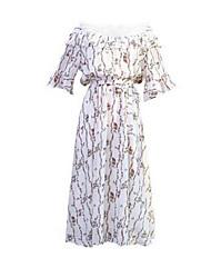 baratos -Mulheres Para Noite Delgado Bainha Vestido Decote Canoa Altura dos Joelhos