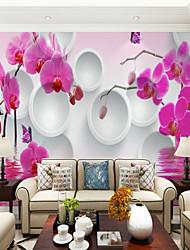 Недорогие -нежный круг орхидеи фон на заказ обои 3d настенные обои, подходящие для гостиной столовой