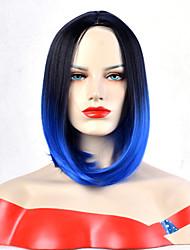 abordables -Pelucas sintéticas Ondulado Parte media Pelo sintético Resistente al Calor / sintético / Peluca afroamericana Negro / Azul Peluca Mujer Corta Sin Tapa / Sí