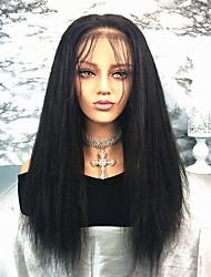 povoljno -Remy kosa Lace Front Perika Brazilska kosa Ravan kroj 130% Gustoća Prirodna linija za kosu / S bijelim čvorovima Dug Žene Perike s ljudskom kosom