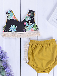 Недорогие -малыш Девочки Цветочный принт Без рукавов Набор одежды