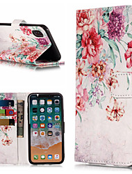 economico -Custodia Per Apple iPhone X / iPhone 8 Plus A portafoglio / Porta-carte di credito / Con supporto Integrale Fiore decorativo Resistente pelle sintetica per iPhone X / iPhone 8 Plus / iPhone 8