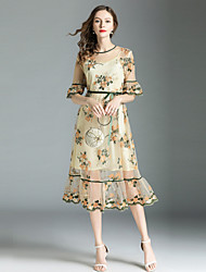 Недорогие -Жен. Уличный стиль / Изысканный Вспышка рукава С летящей юбкой Платье - Цветочный принт, Сетка / Вышивка Средней длины